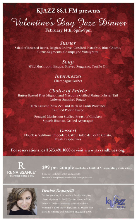 Valentine's Day Jazz Dinner flyer